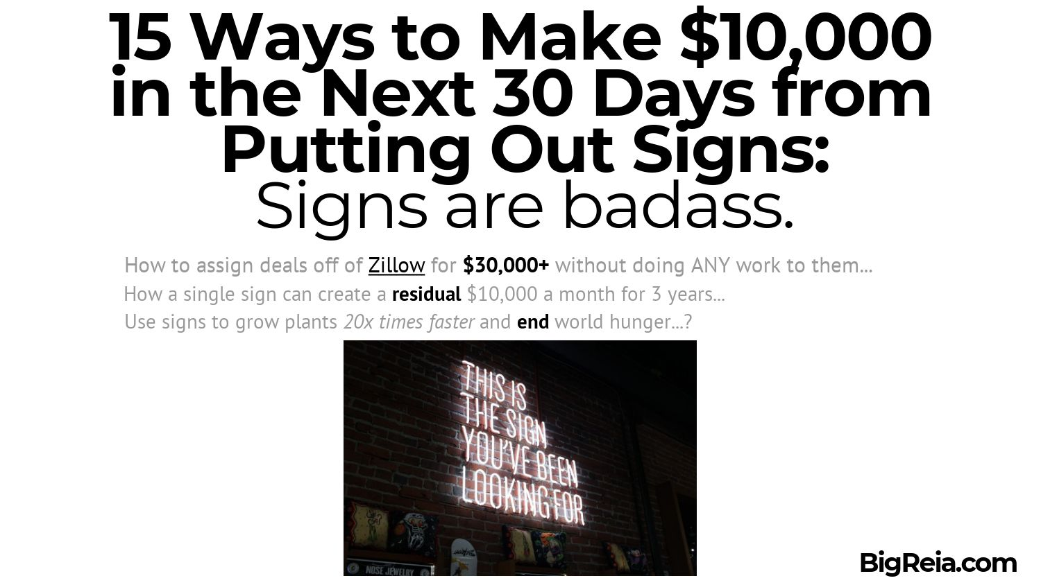 19 Ways to Make 10k a month with signs