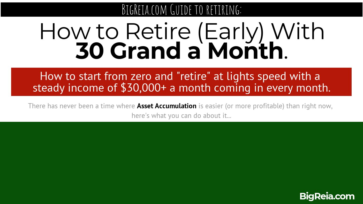 Retire at 30k a month