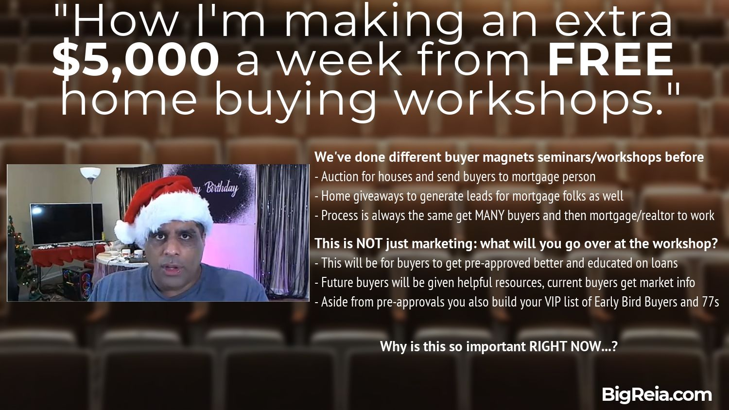 Home buying workshops for 5k a week