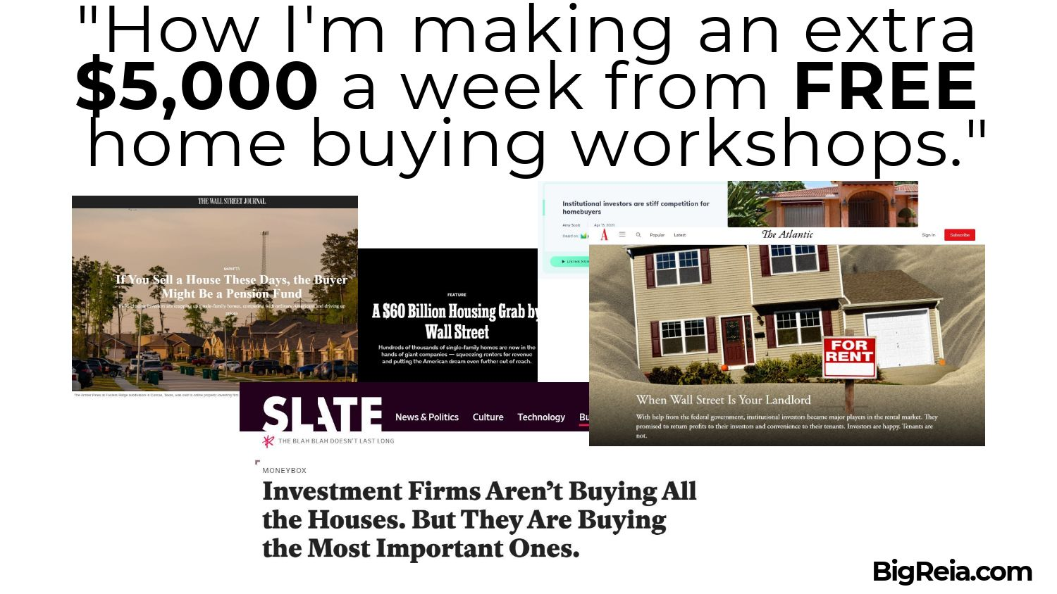 News articles showing hedge funds buying houses at record prices and speed
