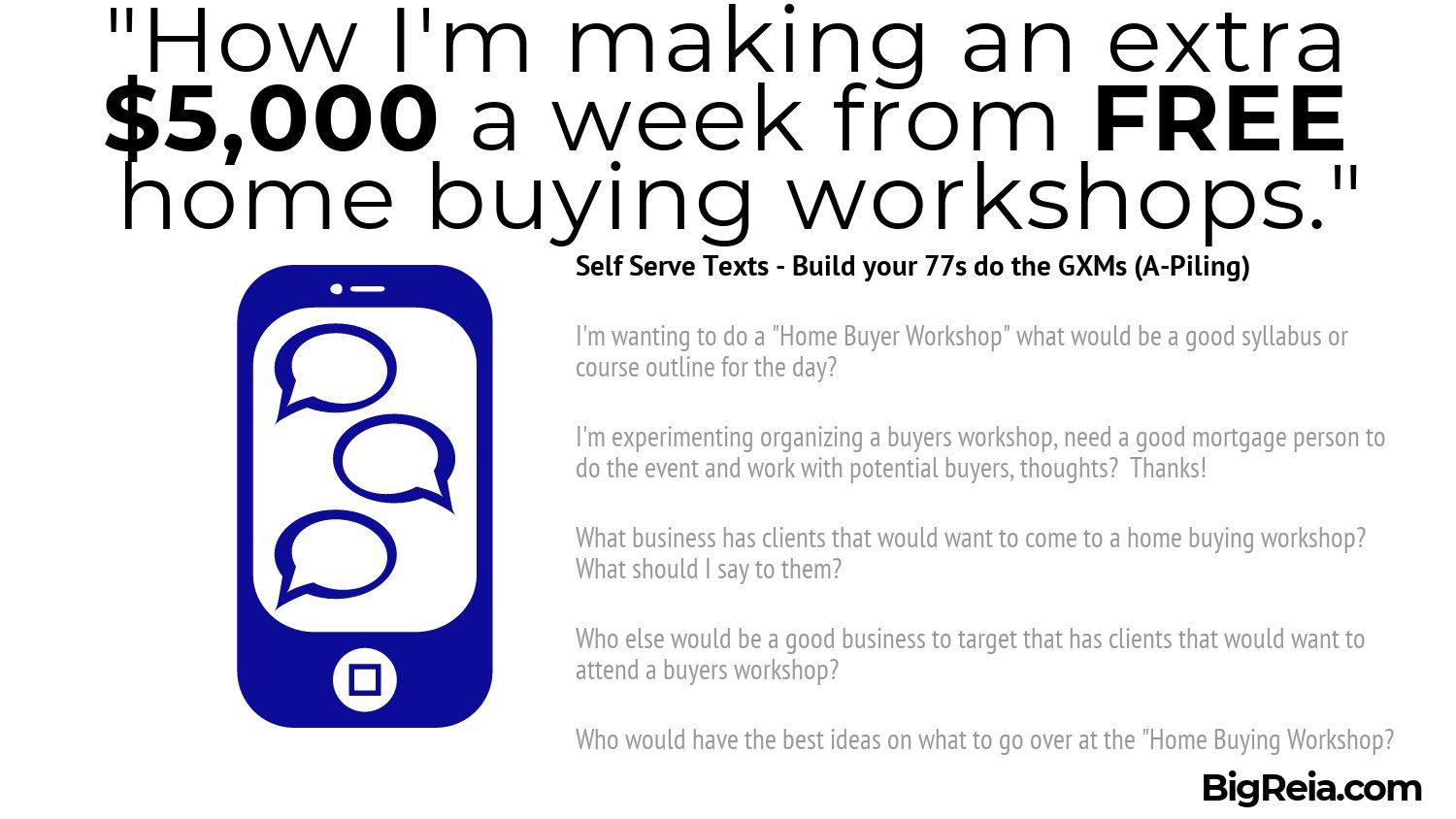 Sample texts to use in to put together your team to deal with buyers