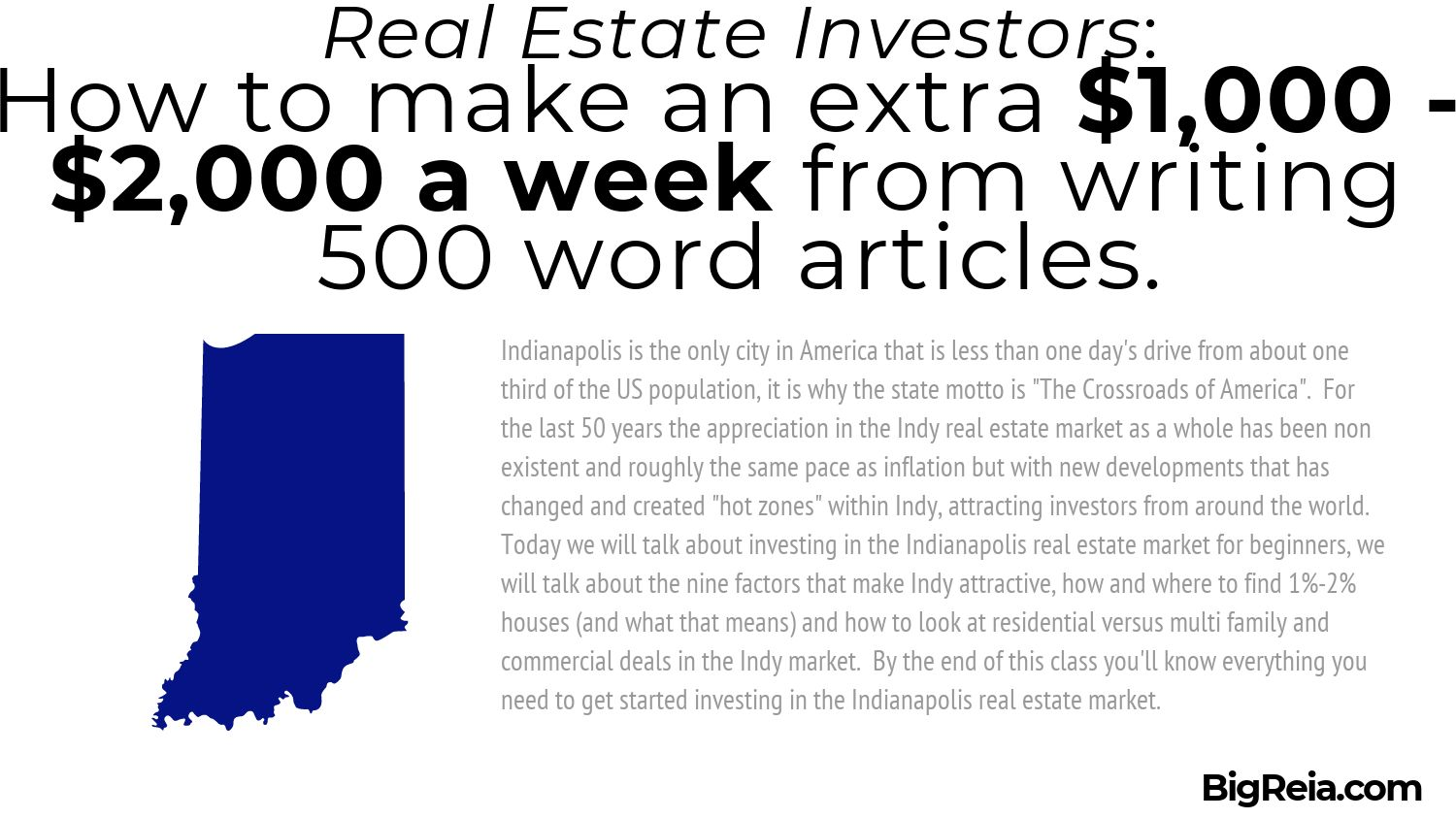 First paragraph Algorithm for Indiana real estate investors