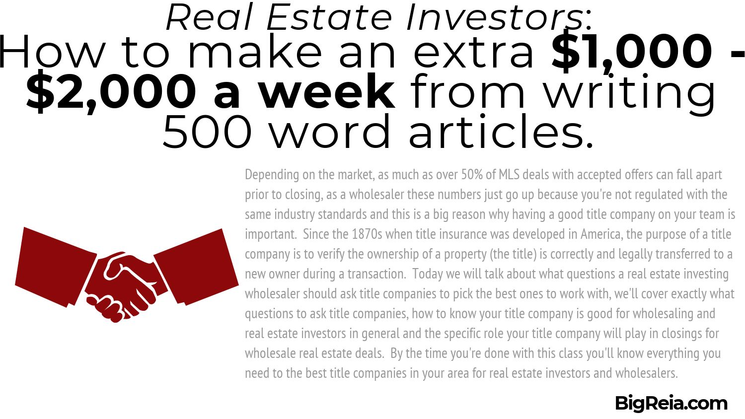 First Paragraph Algorithm example of choosing title company