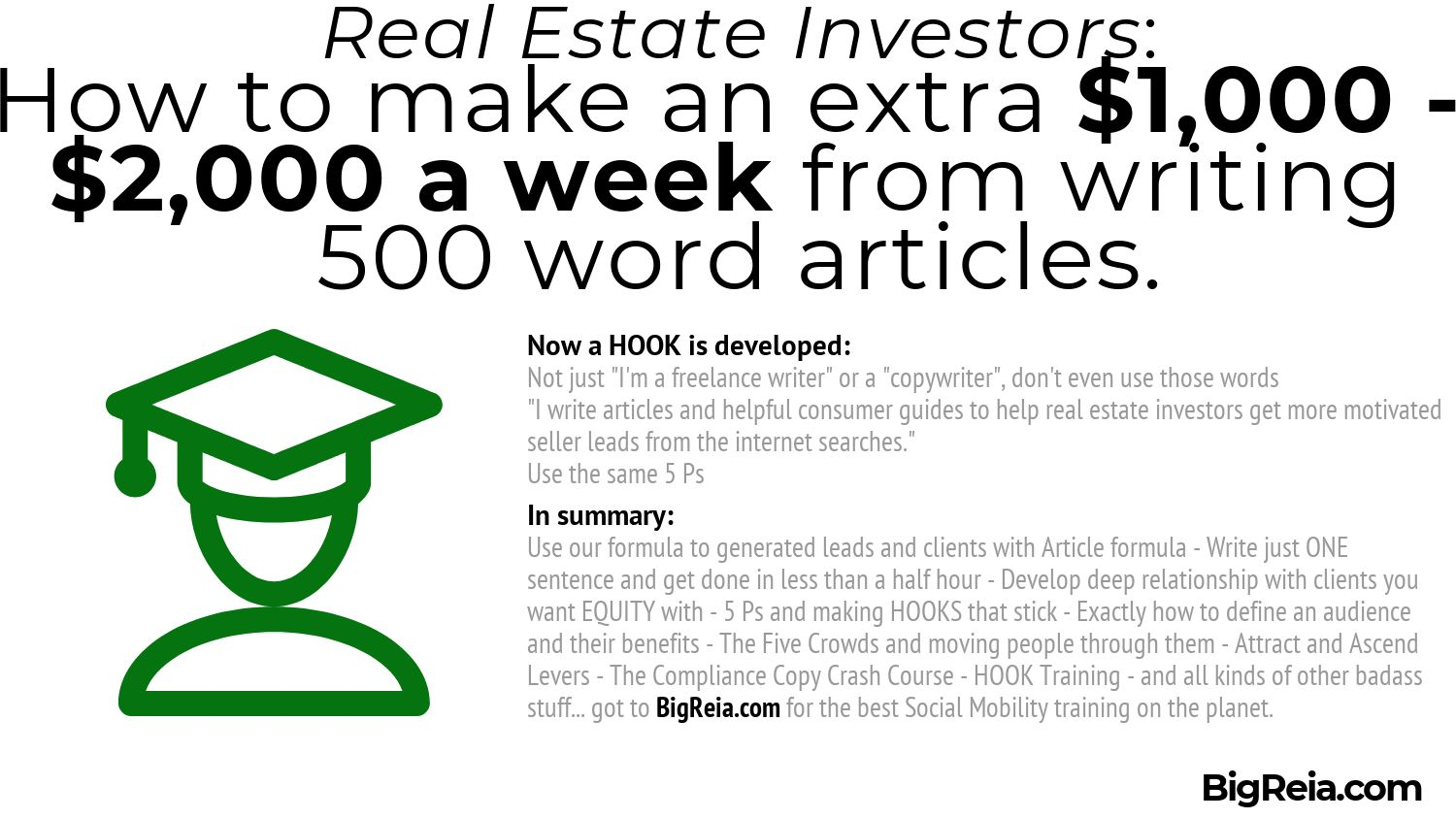 Summary of 500 word articles for 2k a week BigReia.com copywriting for real estate investors