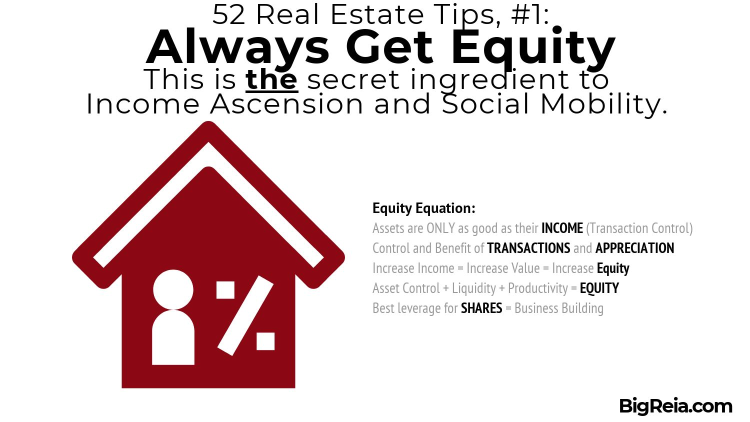 Always get equity using The Equity Equation