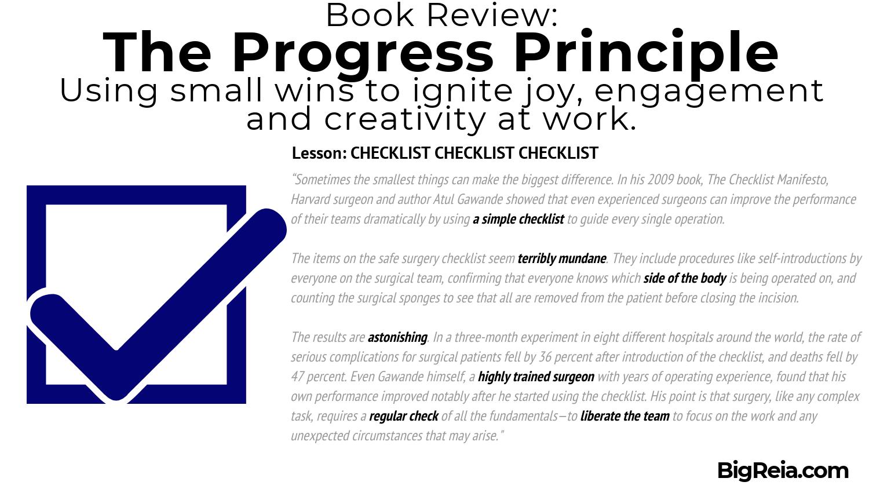 The Progress Principle book review - CHECKLIST - BigReia.com