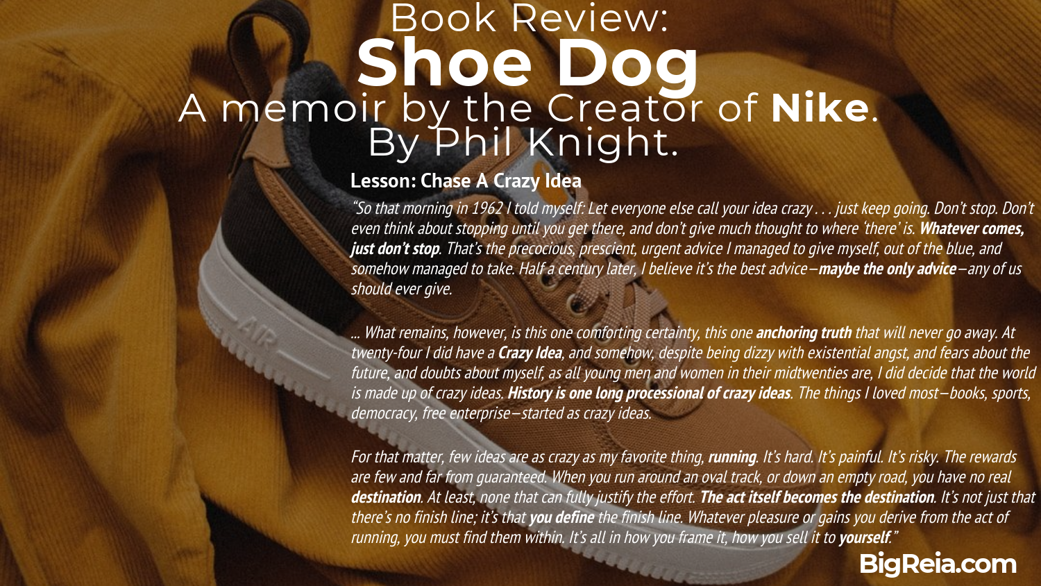 Book review excerpt from Shoe Dog