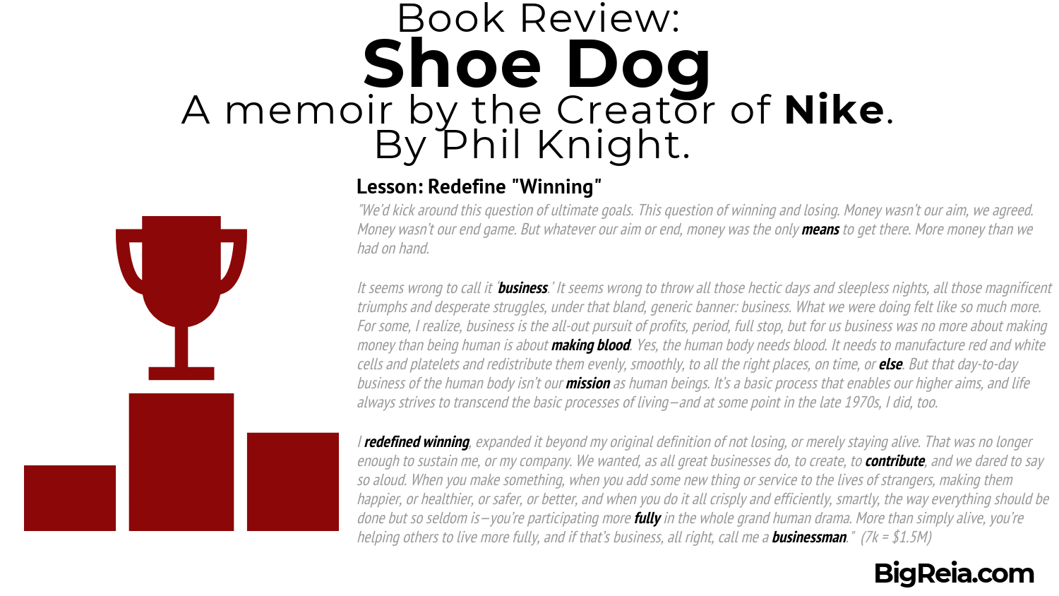Book review Shoe Dog excerpt on winning