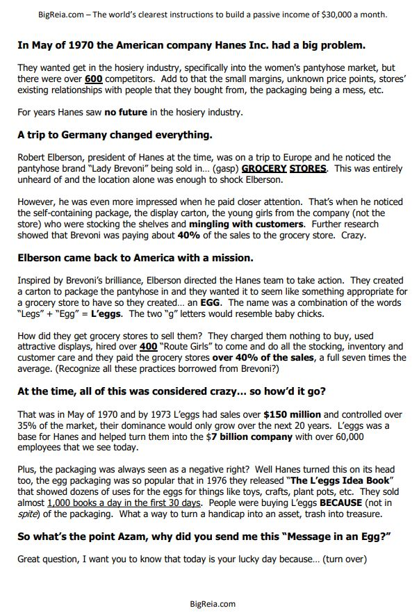 The 10 million dollar Egg Letter page one of two