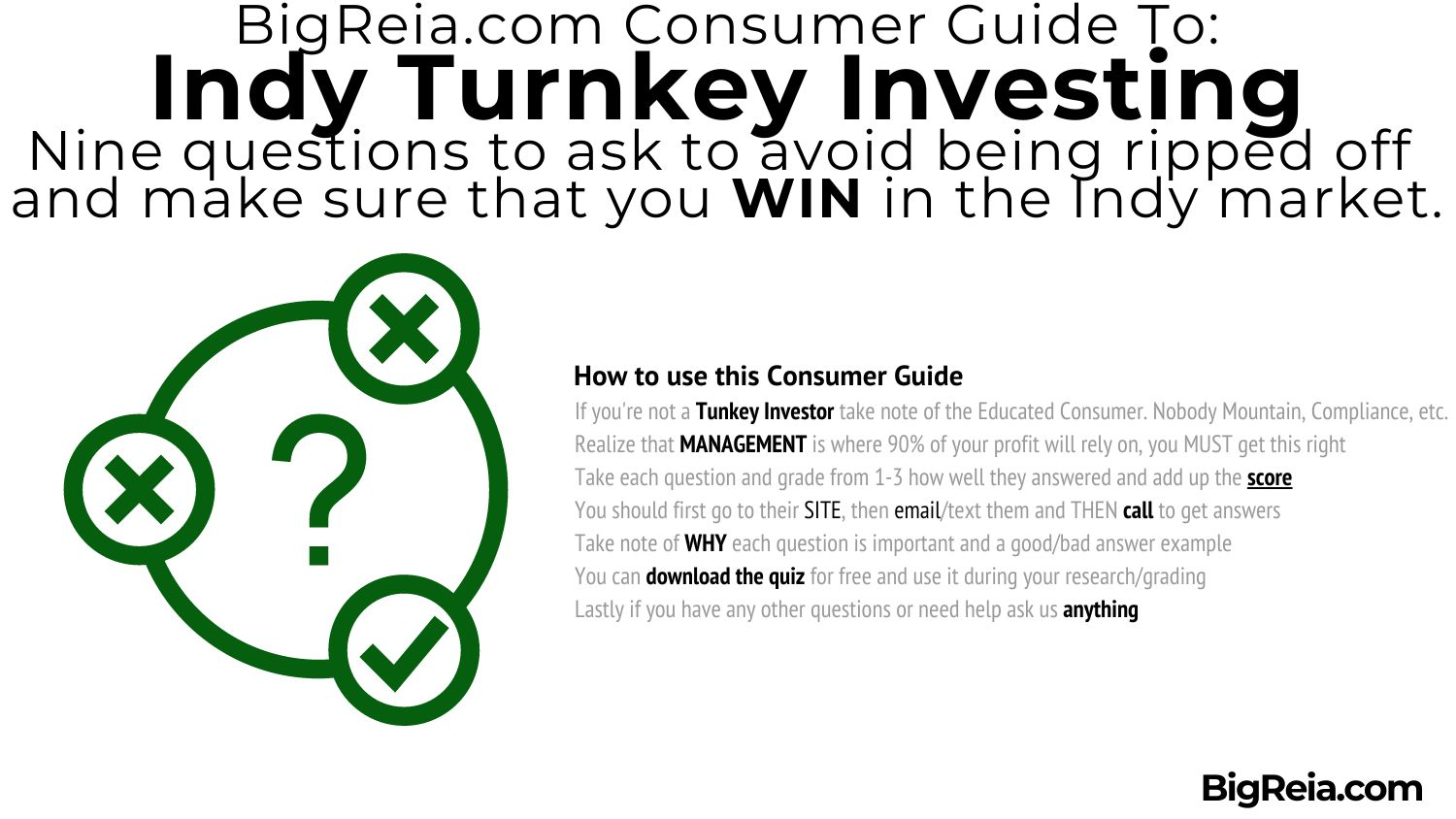 How to use these questions to screen Indiana Turnkey investing people