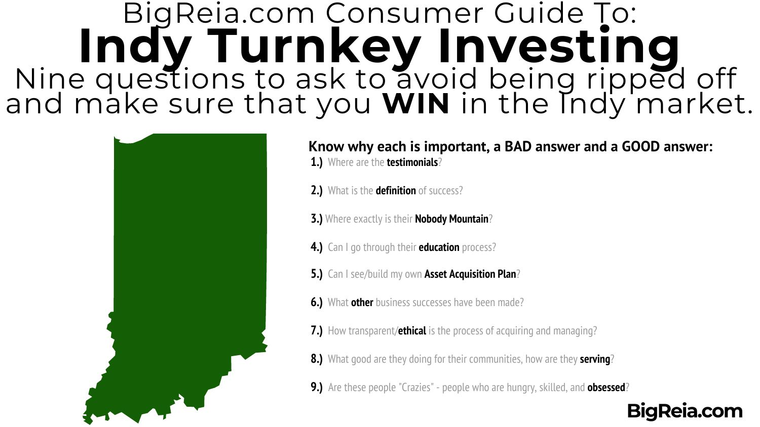 Review of the nine questions Indy turnkey investors can used to avoid being scammed